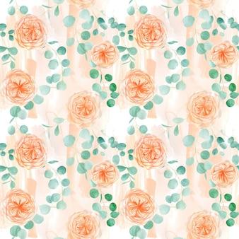 Naadloze patroon met perzik en oranje met engels rose austin flower