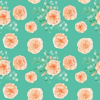 Naadloze patroon met perzik engels rose austin flower en eucalyptus