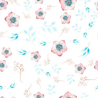 Naadloze patroon met roze nieskruid bloemen, knoppen, bladeren, decoratieve twijgen op wit geïsoleerd. aquarel illustratie, handgemaakt.