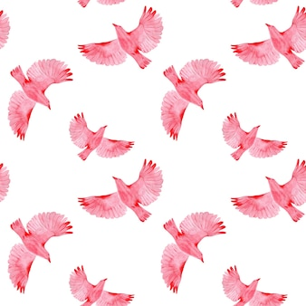 Naadloze patroon met vliegende vogels op witte achtergrond
