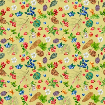 Naadloze patroon met wilde bessen en kegels op een lichte achtergrond