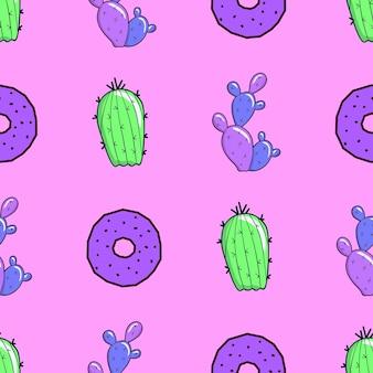 Naadloze patroon. mix cactus en donuts. gebruik voor t-shirt, wenskaarten, inpakpapier, posters, stoffenprint. mode minimale illustratie