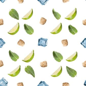 Naadloze patroon mojito ingrediënten geïsoleerd op een wit oppervlak