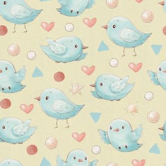 Naadloze patroon schattige cartoon vogels harten en sterren.