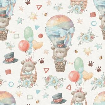Naadloze patroon schattige tekenfilm dieren vliegen in een hete luchtballon.