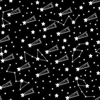 Naadloze patroon vallende ster abstracte symbool ruimteastrologie achtergrond doodle stijl