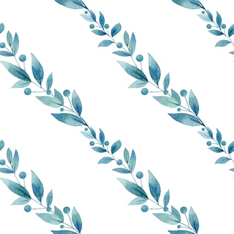 Naadloze patroon van aquarel blauwe bladeren en bessen.