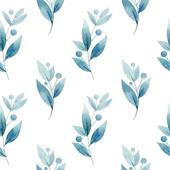 Naadloze patroon van aquarel planten op wit