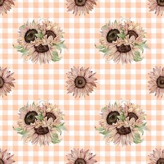 Naadloze patroon van aquarel zonnebloemen op geruite achtergrond