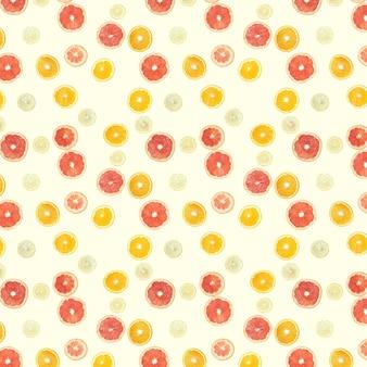 Naadloze patroon van kleurrijke patroon gemaakt van citrusvruchten geïsoleerd op een witte ondergrond