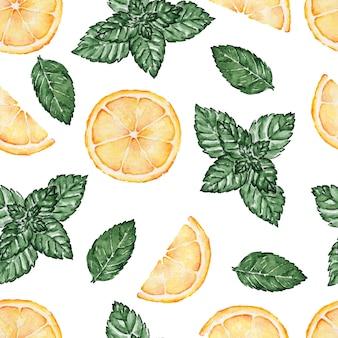 Naadloze patroon van lemonnd muntblaadjes aquarel geschilderd op wit