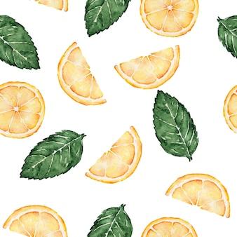 Naadloze patroon van lemonnd muntblaadjes aquarel geschilderd op wit Premium Foto