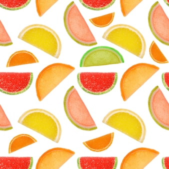 Naadloze patroon van stukjes gekleurde marmelade geïsoleerd op een witte achtergrond