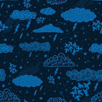 Naadloze patroon wolk abstract symbool ruimteastrologie achtergrond doodle stijl