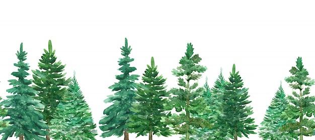 Naadloze rand van aquarel groene kerstbomen.