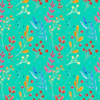 Naadloze raster aquarel patroon bloemen ornament gemaakt van takken en bladeren van verschillende vormen