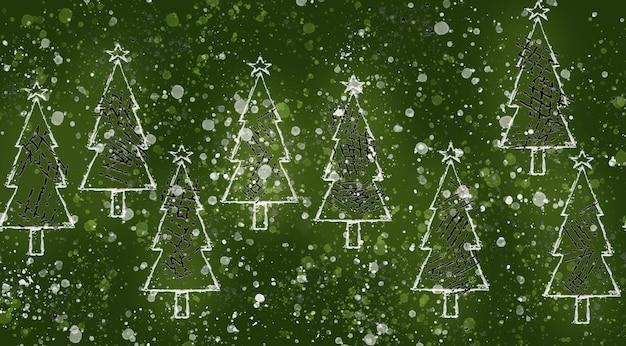 Naadloze set kerstbomen patroon in groen