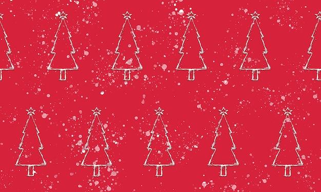 Naadloze set kerstbomen patroon op rood