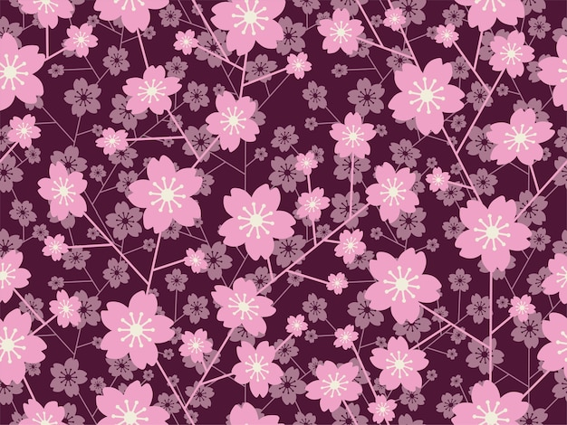 Naadloze vector cherry blossom bloemmotief geïsoleerd op een donkere achtergrond horizontaal en verticaal herhaalbaar