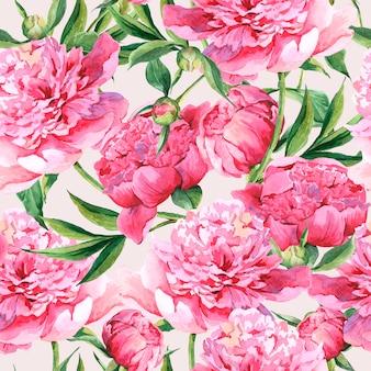 Naadloze waterverfachtergrond met roze pioenen