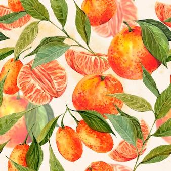 Naadloze waterverfachtergrond met sinaasappelen