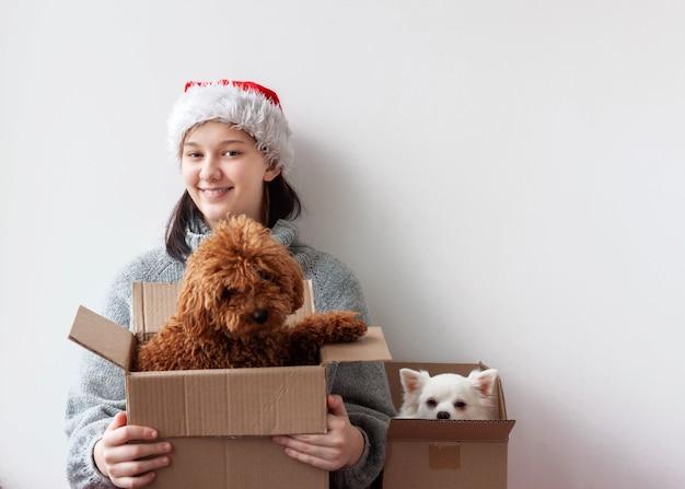 Naast het tienermeisje staan twee dozen met daarin twee kleine honden een poedel en een pomeriaan.