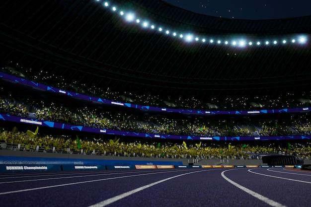 Nacht atletische stadion arena met menigte fans hoge kwaliteit foto render photo