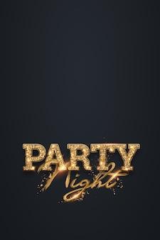Nacht feest belettering in gouden letters op donker