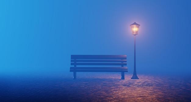 Nacht park blauwe mist bank lantaarn