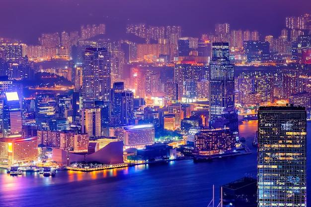 Nacht skyline van hong kong