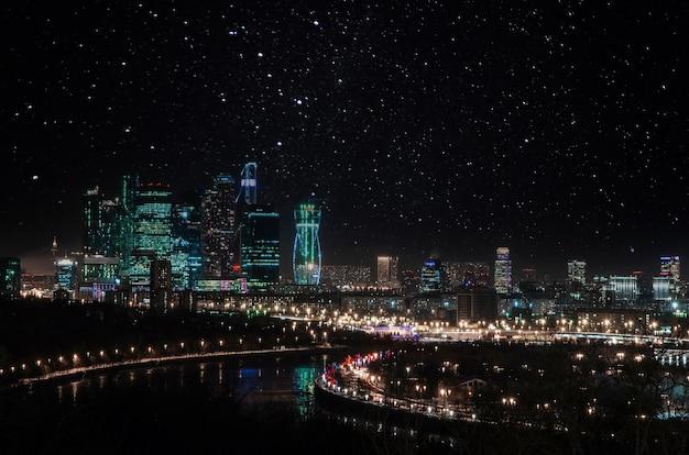 Nacht stadsgezicht landschap
