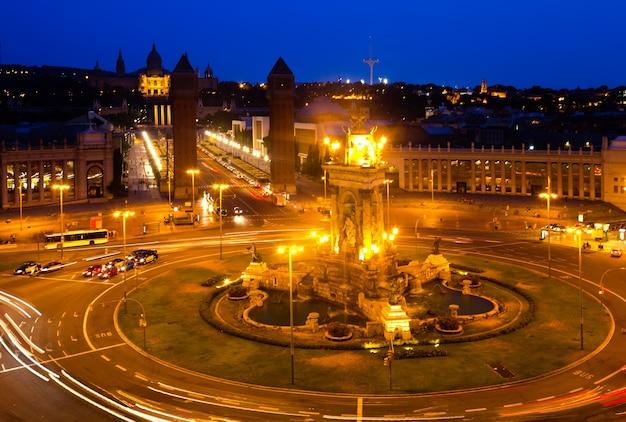 Nacht uitzicht op de plaza de espana