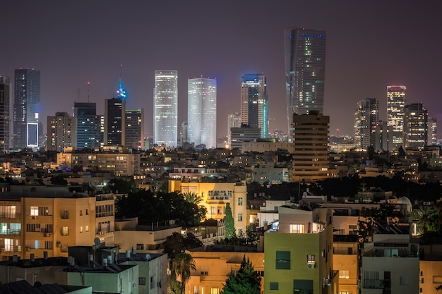 Nacht uitzicht op de stad