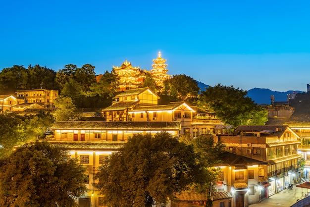 Nacht uitzicht op oude steden in chongqing, china