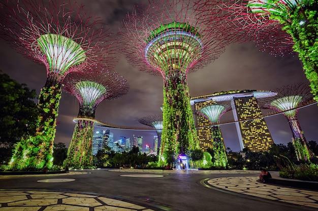 Nacht uitzicht op tuinen langs de baai, singapore