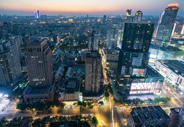 Nacht uitzicht stad landschap nanjing, jiangsu, china