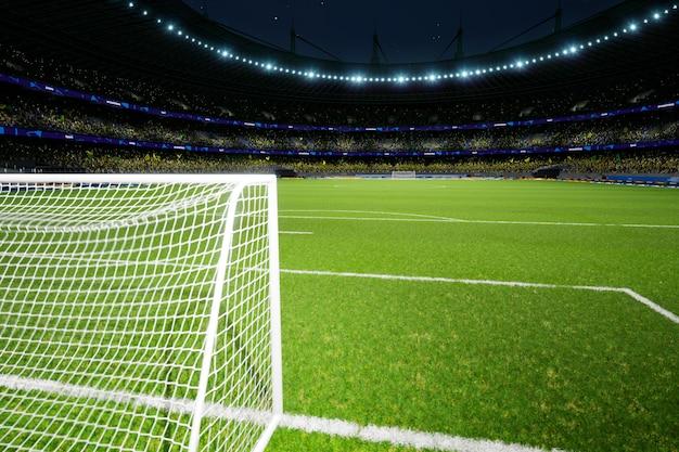 Nacht voetbalstadion arena met menigte fans hoge kwaliteit foto render
