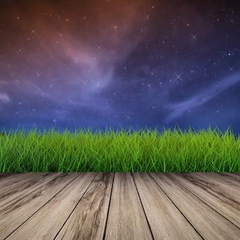 Nachtelijke hemel met glanzende sterren met groen gras en houten vloer