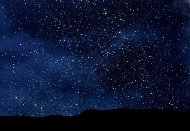 Nachtelijke sterrenhemel, diepe ruimte over vallei