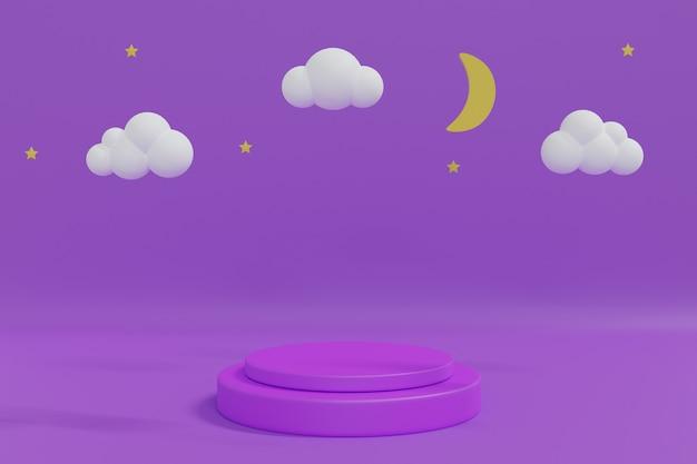 Nachthemel. maan, sterren en wolken om middernacht met paars podium voor productplaatsing. 3d rendering illustratie.
