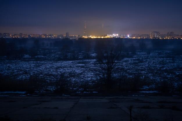 Nachtscène in de natuurlijke delta van vacaresti in boekarest, roemenië