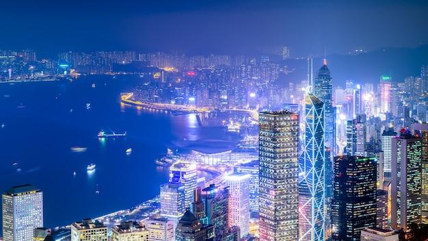 Nachtzicht vanaf victoria peak in hong kong