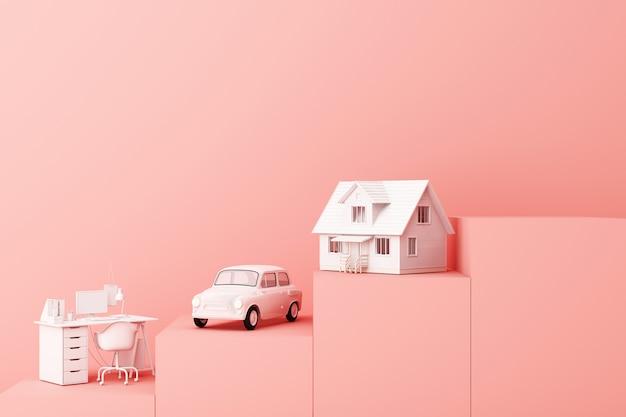 Nadenken over auto thuis en werken met een andere lege ruimte op het roze voetstuk het concept van leven 3d-rendering