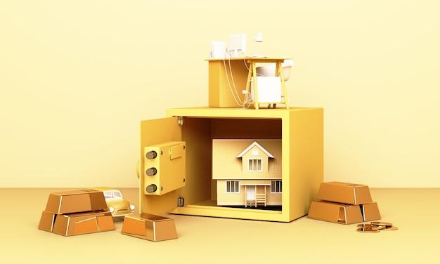 Nadenken over huis, auto en werk met een open kluis en goudstaaf in pastel geel