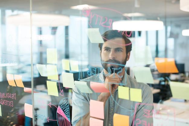 Nadenkende zakenman die strategie bekijkt die op glas wordt geschreven