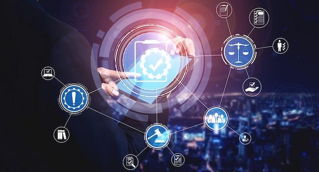 Naleving regel wet- en regelgeving grafische interface voor zakelijk kwaliteitsbeleid