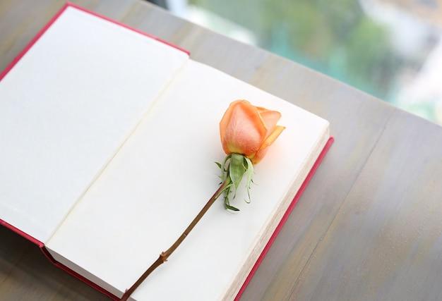 Nam bloem op open rood hardcoverboek toe dichtbij vensters in woonkamer.
