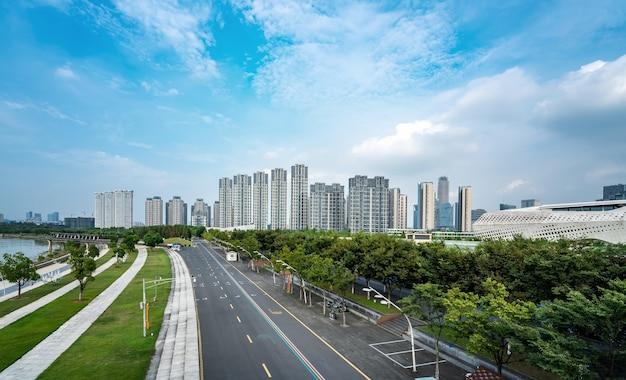 Nanjing cbd stadsplein en architectonisch landschap