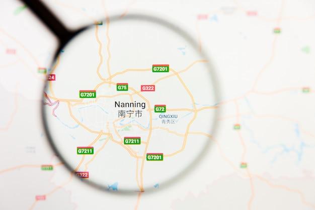 Nanning, china stad visualisatie illustratief concept op het beeldscherm door vergrootglas