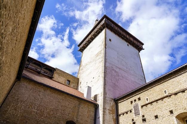Narva middeleeuws kasteel aan de rivier op de grens met rusland.